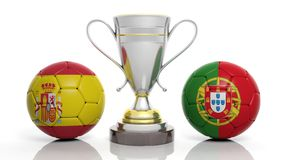 3d rendering of a Golden Silver trophy and soccer ball Royalty Free Stock Images