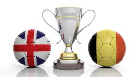 3d rendering of a Golden Silver trophy and soccer ball. Isolated on white with Uk and portugal flag vector illustration