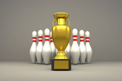 3D rendering of golden trophy and bowling pins Royalty Free Stock Images
