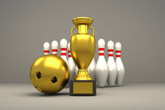 3D rendering of golden trophy and bowling pins. 3D rendering of golden trophy, ball and bowling pins Royalty Free Stock Images