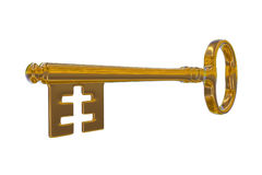 3D rendering of a golden vintage key. On white background Stock Photography