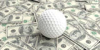 3d rendering golf ball on100 dollars banknotes Stock Image