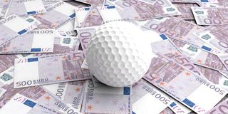 3d rendering golf ball on 500 euros banknotes. Background Stock Photo