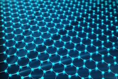 3D Rendering of Graphene atomic structure - nanotechnology background illustration. 3D Rendering of Graphene atomic structure - nanotechnology background stock illustration