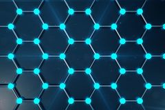 3D Rendering of Graphene atomic structure - nanotechnology background illustration. 3D Rendering of Graphene atomic structure - nanotechnology background Stock Photos