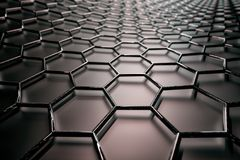 3D rendering of graphene surface, black bonds with carbon glossy structure stock illustration