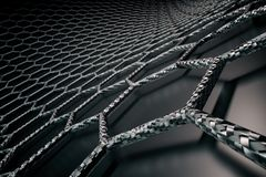 3D rendering of graphene surface, black bonds with carbon structure stock illustration