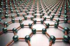 3D rendering of graphene surface, blue atoms and orange bonds vector illustration