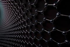 3D rendering of graphene surface, glossy carbon atoms and black bonds stock illustration