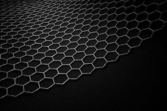 3D rendering of graphene surface, grey bonds with carbon structure royalty free illustration
