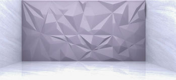 3D rendering of  gray polygon wall. In marble room Royalty Free Stock Photo