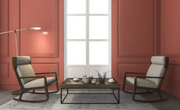 3d rendering great furniture in red classic living room Stock Photography