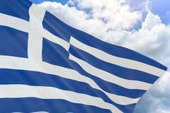 3D rendering of Greece flag waving on blue sky background Stock Photo