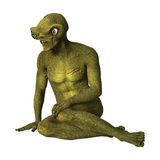 3D Rendering Green Alien on White Royalty Free Stock Photos
