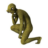 3D Rendering Green Alien on White Royalty Free Stock Photography