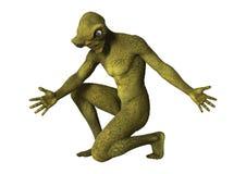 3D Rendering Green Alien on White Royalty Free Stock Image