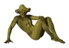3D Rendering Green Alien on White Stock Photo