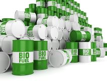 3D rendering green barrels. For biofuels with lettering royalty free illustration