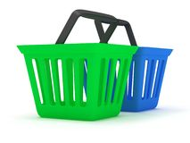 3D rendering of green and blue shopping baskets. On white Royalty Free Stock Photo