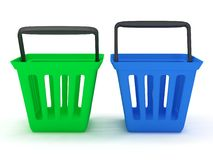3D rendering of green and blue shopping baskets. On white Stock Photos