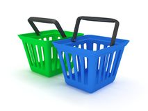 3D rendering of green and blue shopping baskets. On white Royalty Free Stock Image