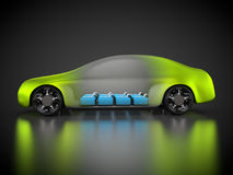 3D rendering: green car technology. Car with green carbody and battery pack Stock Images