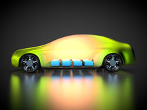 3D rendering: green car technology. Car with green carbody and battery pack Stock Image