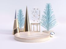3d rendering green clear abstract tree gold cone decoration winter new year concept blank wood circle stock illustration