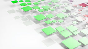 3D rendering green cubes on white background. Abstract geometric green cubes casting shadow on white background Royalty Free Stock Photo