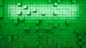 3D rendering green extruded cubes. stock footage