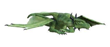 3D Rendering Fantasy Dragon on White. 3D rendering of a green fantasy dragon isolated on white background vector illustration