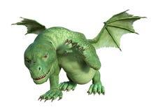 3D Rendering Fantasy Hatchling Dragon on White. 3D rendering of a green fantasy hatchling dragon isolated on white background Stock Image