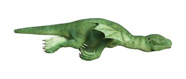 3D Rendering Fantasy Hatchling Dragon on White. 3D rendering of a green fantasy hatchling dragon isolated on white background Stock Photo