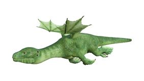 3D Rendering Fantasy Hatchling Dragon on White. 3D rendering of a green fantasy hatchling dragon isolated on white background Royalty Free Stock Photography