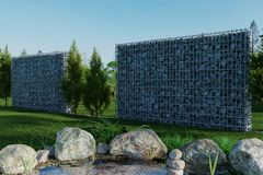 3d rendering of green garden with gabion and pond Stock Photos