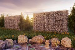 3d rendering of green garden with gabion and pond in the evening Royalty Free Stock Images