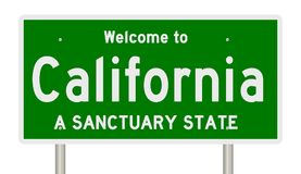 Rendering of highway sign for sanctuary state California stock photography