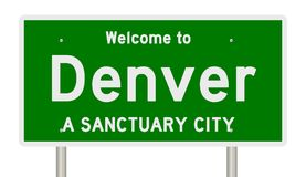 Rendering of highway sign for sanctuary city Denver stock image