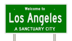 Rendering of highway sign for sanctuary city Los Angeles stock photo