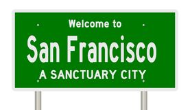 Rendering of highway sign for sanctuary city San Francisco. A 3d rendering of a green highway sign showing San Francisco sanctuary city royalty free illustration