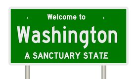 Rendering of highway sign for sanctuary state Washington royalty free stock images