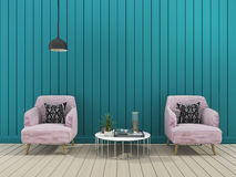 3d rendering green modern wall living room with soft armchair. 3d rendering illustration Stock Photography
