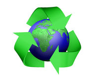 Recycle icon covering earth Royalty Free Stock Photography