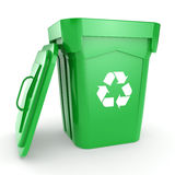 3D rendering Green recycling Bin. Isolated on white background Stock Photos