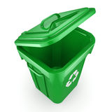 3D rendering Green recycling Bin Stock Photo