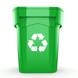 3D rendering Green recycling Bin. Isolated on white background Stock Images