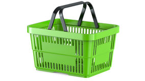 3D rendering of a green shopping basket. 3D illustration, isolated on white background Royalty Free Stock Photos