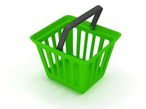 3D rendering of a green shopping basket Stock Image