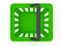 3D rendering of a green shopping basket Stock Photography