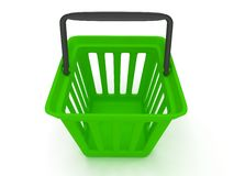 3D rendering of a green shopping basket Stock Photo
